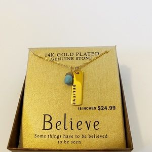 NWT Gold  Believe Necklace with turquoise bead